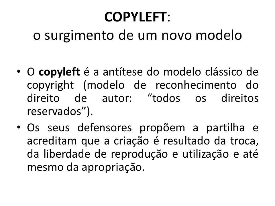 Os defensores do copyleft vêm criticar o modelo vigente de superprotecção criado pelas regras demasiado restritivas do Direito de Autor (copyright).