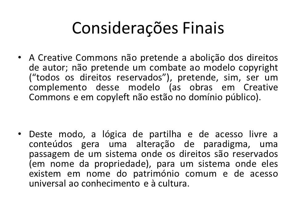 As licenças Creative Commons pretendem ser um modo de actuação sem sufocar a propriedade nem o domínio público, logo são o melhor de dois mundos.