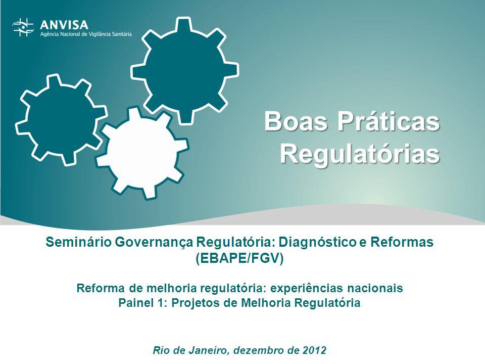 Agenda A Anvisa Regulamentação na Anvisa Programa de Boas Práticas: estratégias e evolução Redesenho e simplificação do Programa Conclusão: desafios
