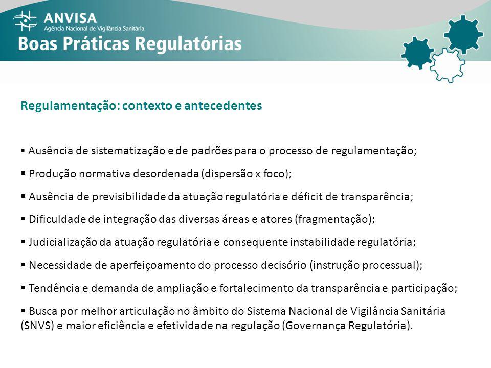 Consultas públicas (CP), resoluções da Diretoria Colegiada (RDC) e instruções normativas (IN) publicadas pela Anvisa, por ano (1999-2012) Processo regulatório da Anvisa