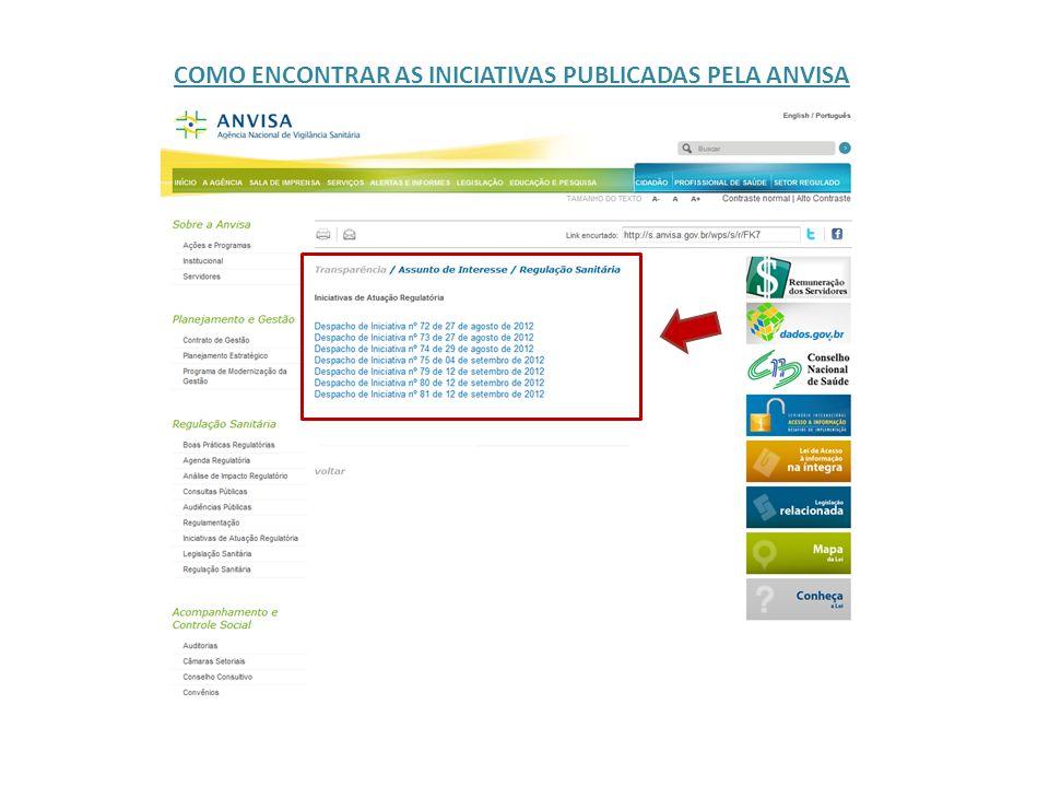 FOLHA DE ROSTO DA INICIATIVA NO PORTAL DA ANVISA
