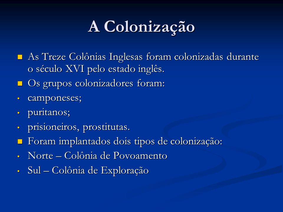 Identifique abaixo as colônias de povoamento e exploração.