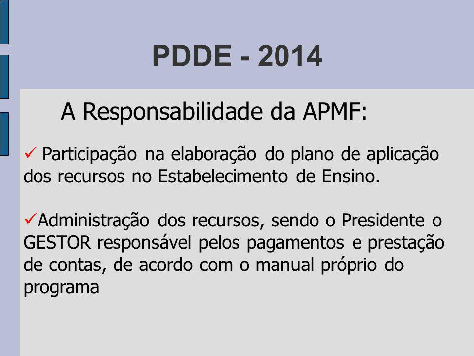 PDDE - 2014 A Responsabilidade da Direção Participação na elaboração do plano de aplicação do recursos no Estabelecimento de Ensino.