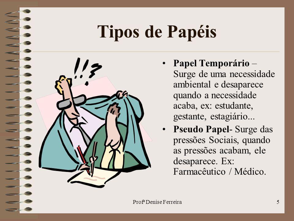 Profª Denise Ferreira6 Tipos de Papéis Papel Permanente – Papel bem estruturado, Ex: Pai, Profissional...
