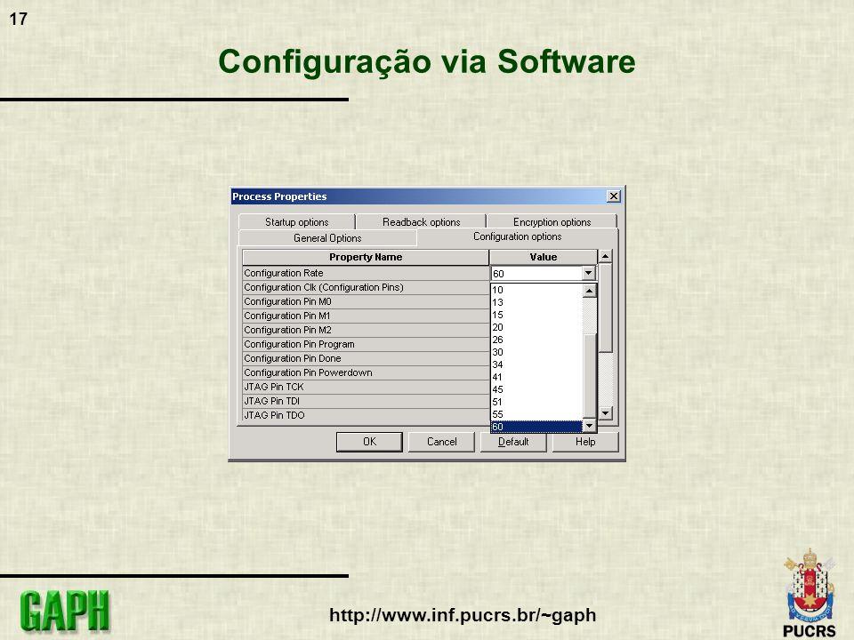 18 http://www.inf.pucrs.br/~gaph Configuração via Software