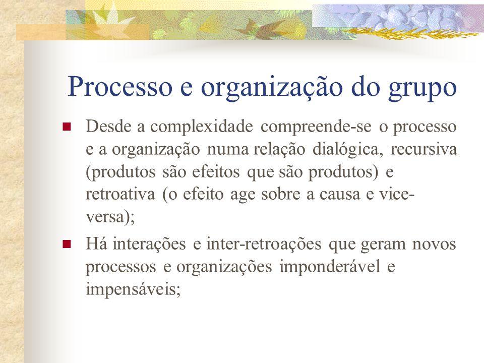 PCV e Complexidade Não há apenas uma dualidade de objetos em interação, mas um multiplicidade deles (o grupo como unidade e multiplicidade); Os processos são produtos e produtores dos organizadores que geram processos...