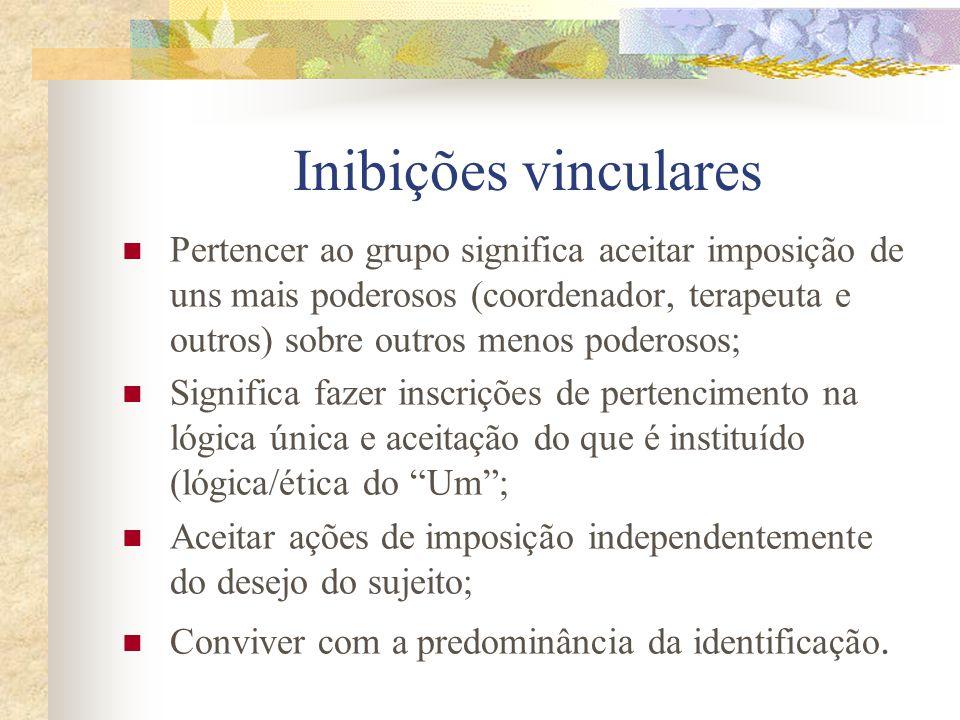 Inibições vinculares Há linearidades das relações causais; As mesmas causas que geram os mesmos efeitos; Relações de representações mais marcantes do que as de apresentação; Predomínio de relações de objetos internos sobre os vinculares.