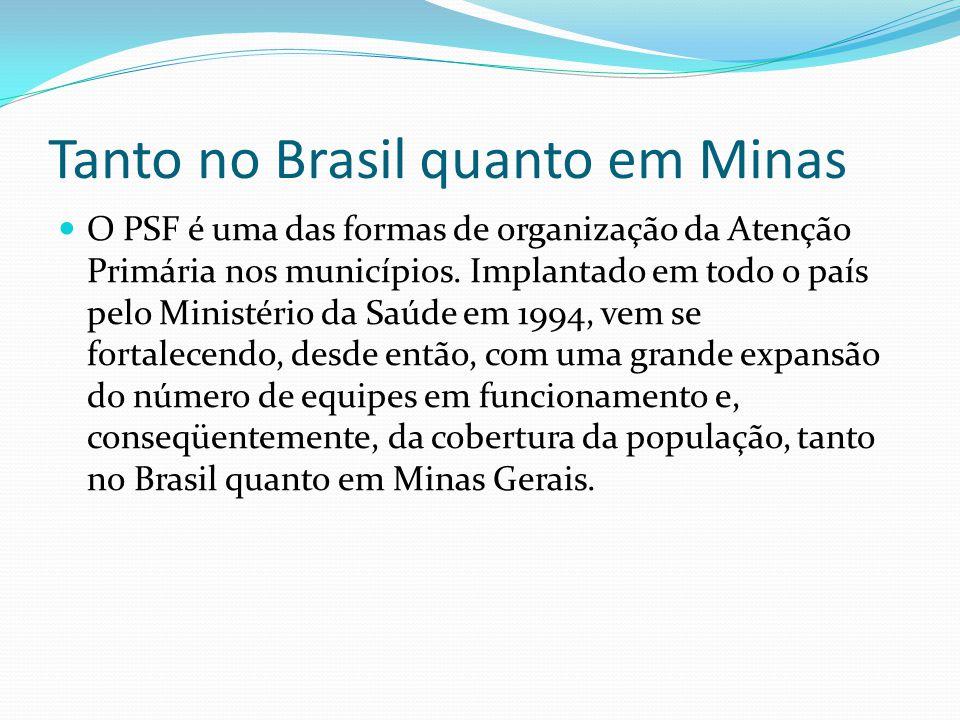 Minas Gerais e o PSF Minas Gerais é o Estado brasileiro com o maior número absoluto de equipes de Saúde da Família do Brasil.