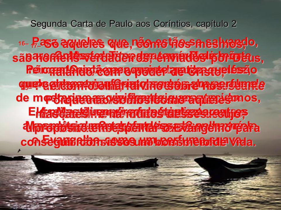 Segunda Carta de Paulo aos Coríntios, capítulo 2 13– Contudo, Tito, meu querido irmão, não estava lá para me encontrar e eu não pude descansar, procurando saber onde ele estaria e o que lhe teria acontecido.