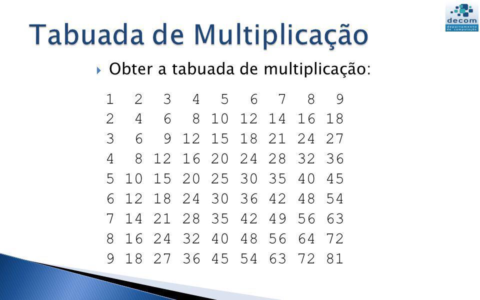 // tabela de multiplicação for linha = 1:9 for coluna = 1:9 printf( %g ,linha*coluna); end Corpo do loop externo: imprime uma linha Corpo do loop interno: imprime uma coluna de uma linha