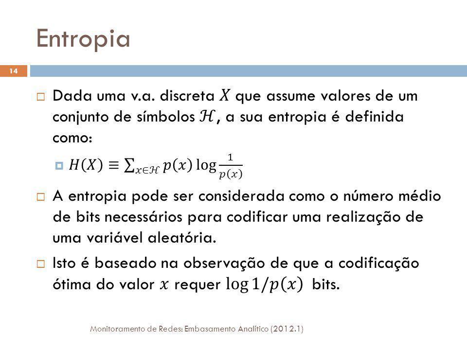 Entropia Conjunta Monitoramento de Redes: Embasamento Analítico (2012.1) 15