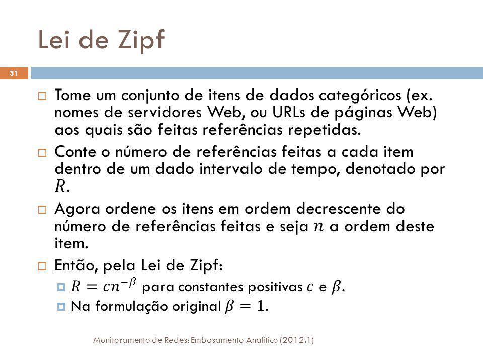 Lei de Zipf Monitoramento de Redes: Embasamento Analítico (2012.1) 32