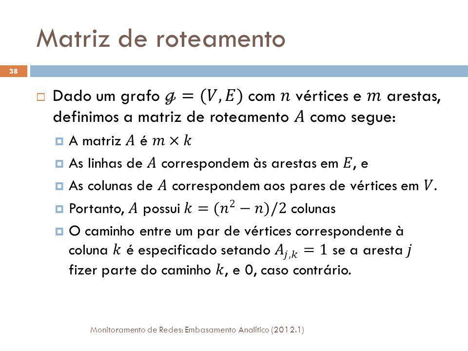 Equação de Tomografia Monitoramento de Redes: Embasamento Analítico (2012.1) 39