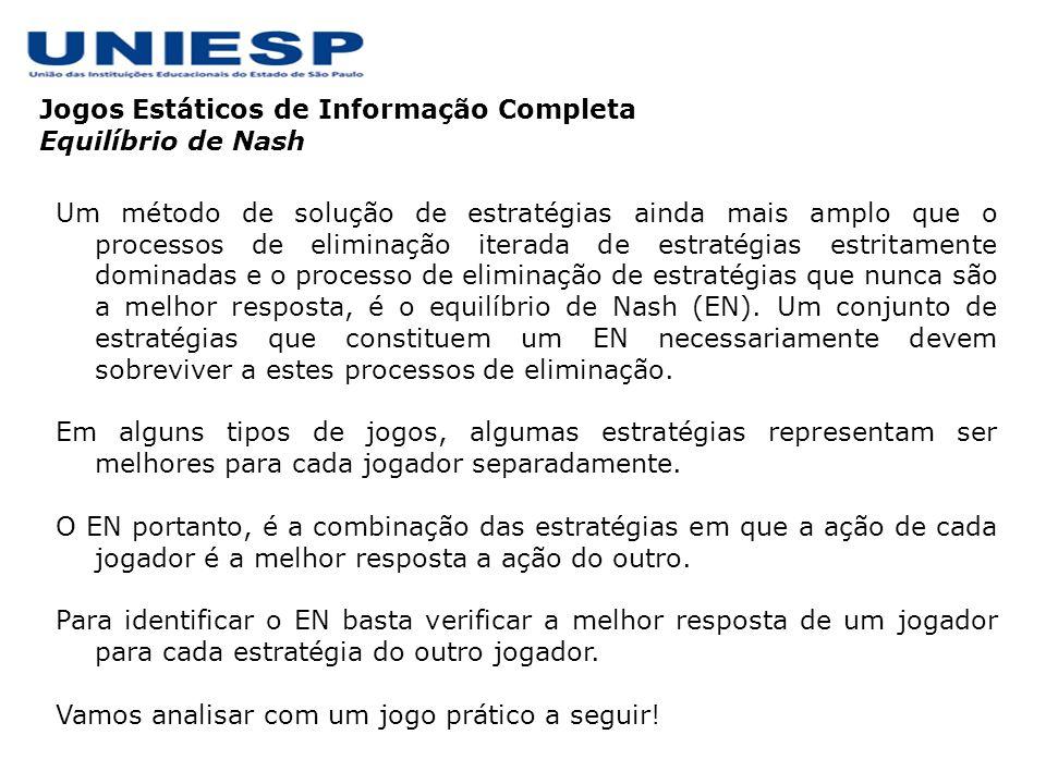 Jogos Estáticos de Informação Completa Equilíbrio de Nash – Oferecimento de um Preço Melhor.