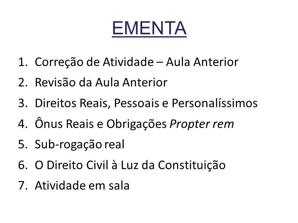 DISTINÇÃO a)Direitos Pessoais (ou obrigacionais) b)Direitos Reais c)Direitos Personalíssimos Ônus Reais Obrigações Propter rem