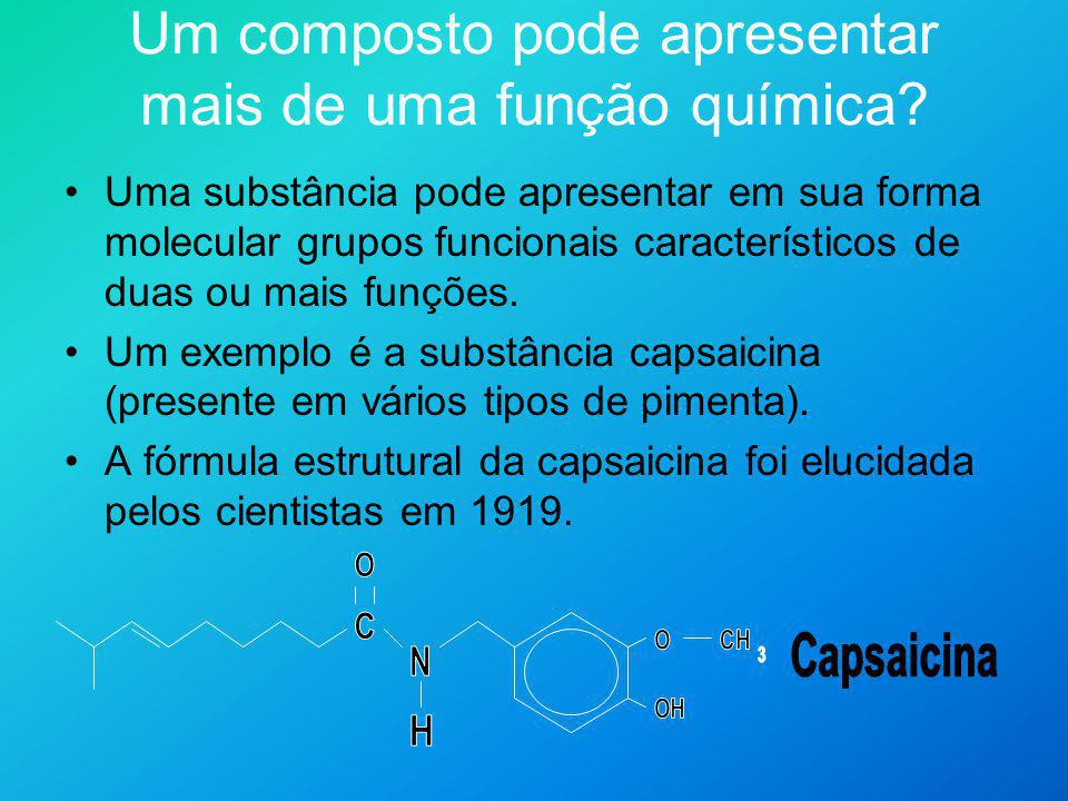 Quando um químico orgânico olha para uma fórmula como essa, três pedaços da molécula imediatamente chamam sua atenção: OH O C N Cada um desses pedaços revela ao químico orgânico que a capsaicina apresenta certas propriedades químicas.