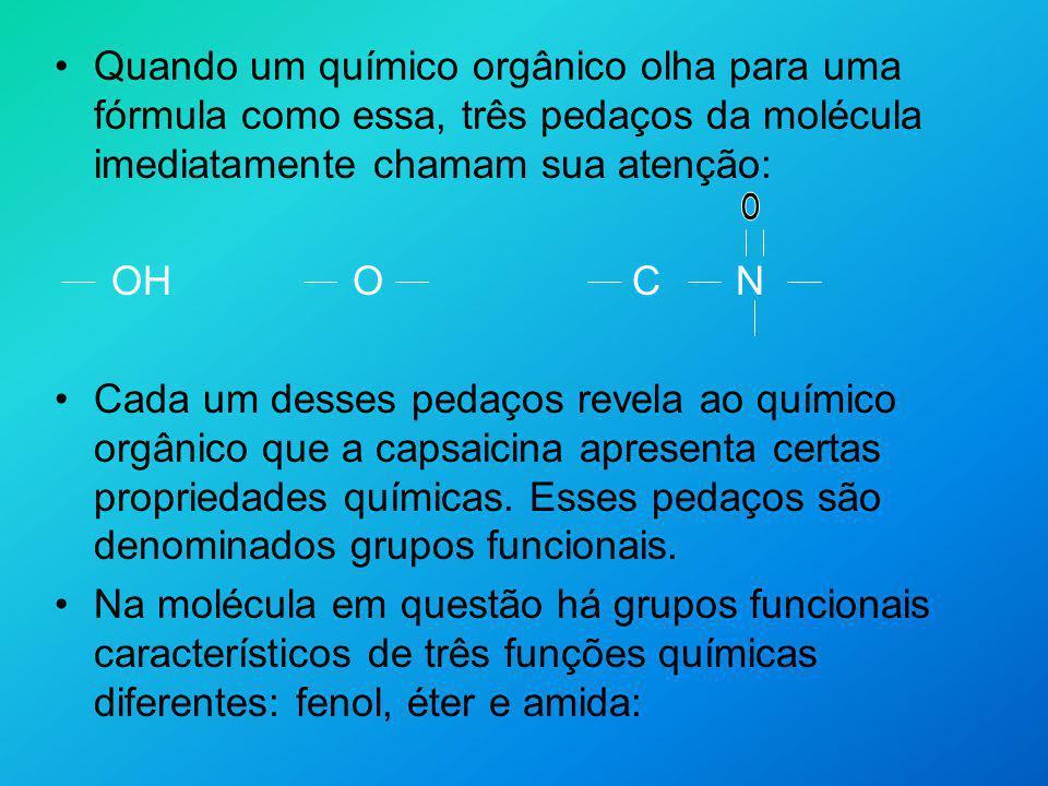 O OH O C N fenol éter amida A divisão dos compostos em funções facilita o estudo dessas substâncias, sua nomenclatura e o entendimento de suas propriedades químicas.