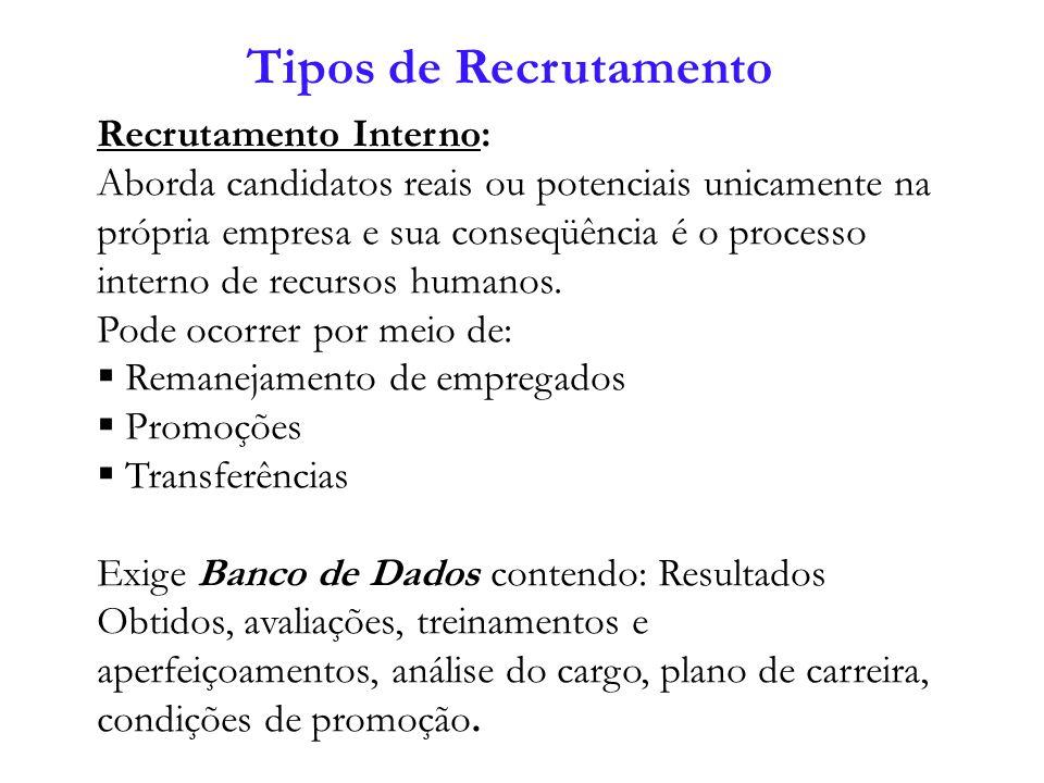 Recrutamento Externo: Quando aborda os candidatos reais, disponíveis ou potenciais em outras empresas e sua conseqüência é a entrada de recursos humanos.