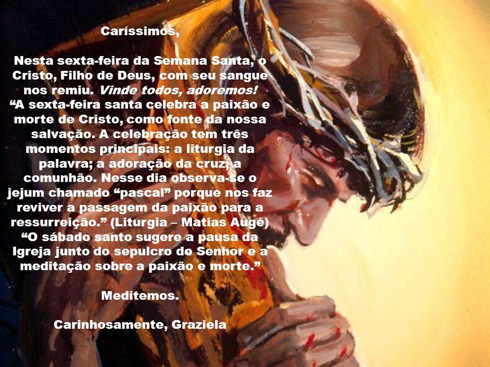 Caríssimos, Nesta sexta-feira da Semana Santa, o Cristo, Filho de Deus, com seu sangue nos remiu.