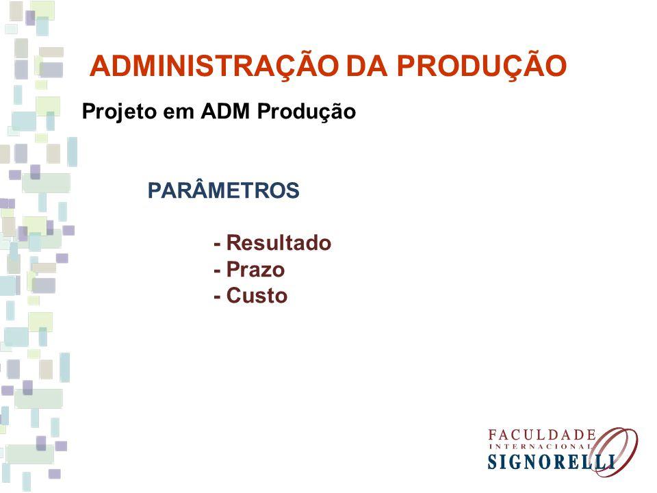 ADMINISTRAÇÃO DA PRODUÇÃO Projeto em ADM Produção.
