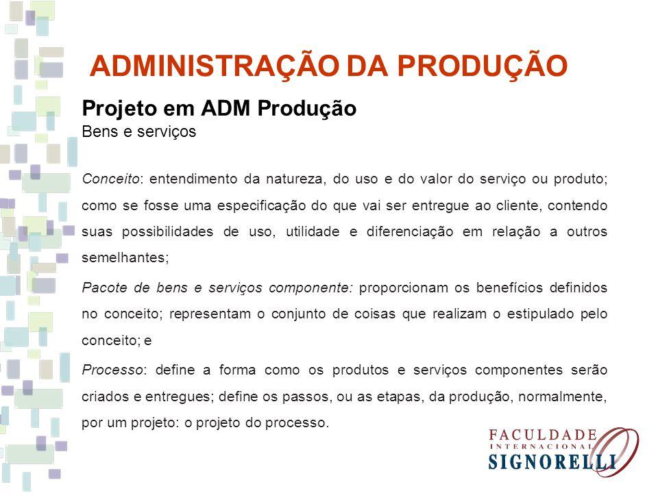 ADMINISTRAÇÃO DA PRODUÇÃO Projeto em ADM Produção Bens e serviços Projeto final Avaliação e melhorias Projeto preliminar Triagem Geração do conceito