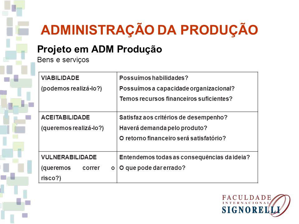 ADMINISTRAÇÃO DA PRODUÇÃO Projeto em ADM Produção Bens e serviços Projeto preliminar Bens .