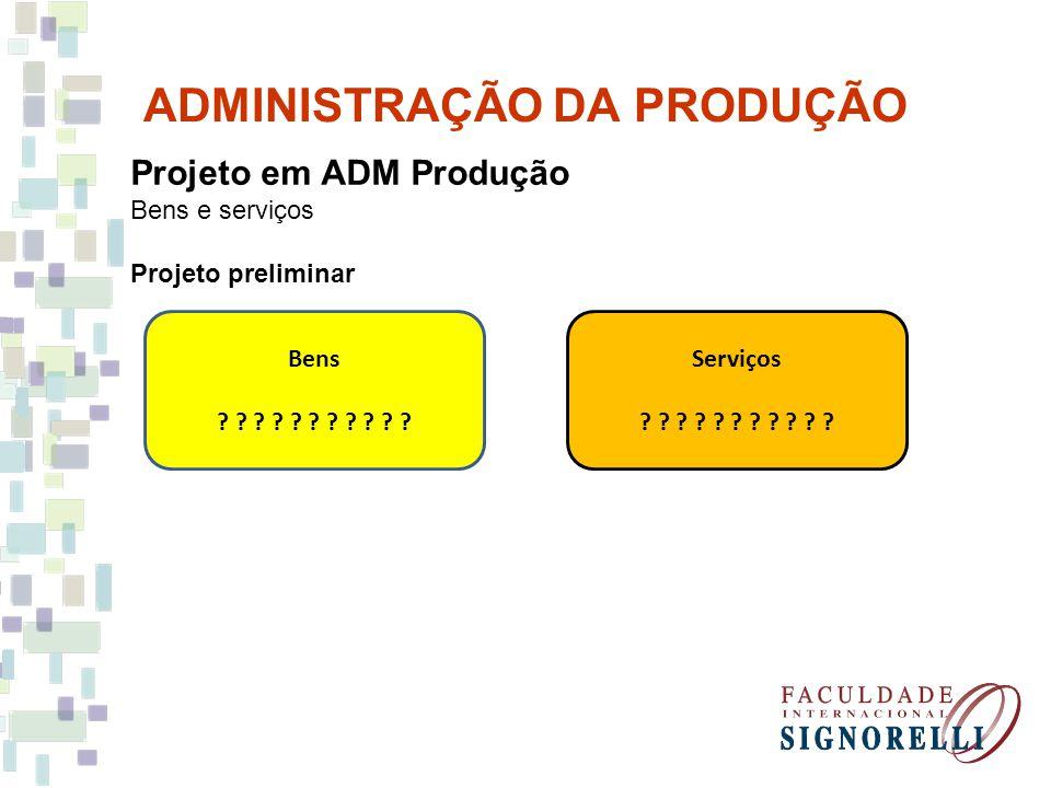 ADMINISTRAÇÃO DA PRODUÇÃO Projeto em ADM Produção Bens e serviços Projeto preliminar A padronização representa reduzir ao máximo as possibilidades de variação no produto final, ou seja, da saída.