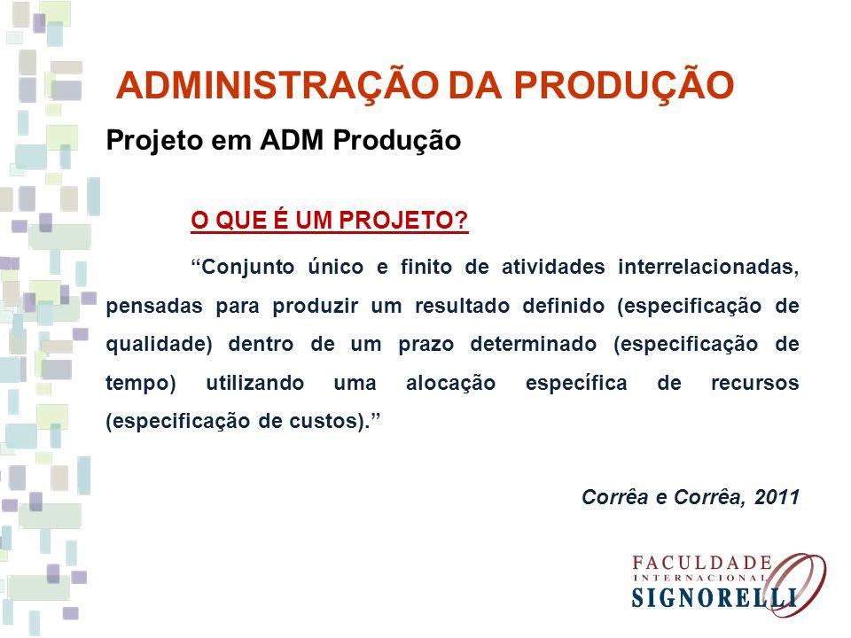 ADMINISTRAÇÃO DA PRODUÇÃO Projeto em ADM Produção O QUE É UM PROJETO.