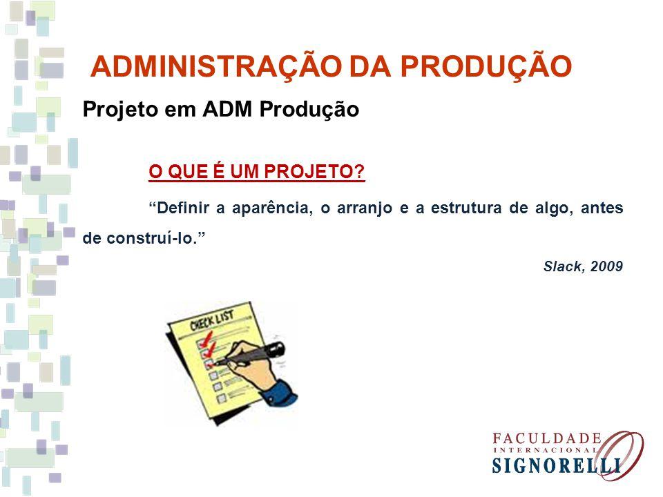 ADMINISTRAÇÃO DA PRODUÇÃO Gestão de projetos(Harvard, 2002) - Definição e organização do projeto; Organização do projeto, definição dos parâmetros, definição de ferramentas e registro em documento.