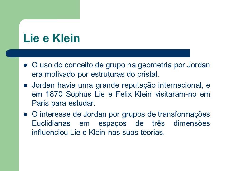 Teoria de Grupos.3 A publicação do Traité des substitutions et des équations algebraique não marcou o fim da contribuição de Jordan à teoria de grupos.