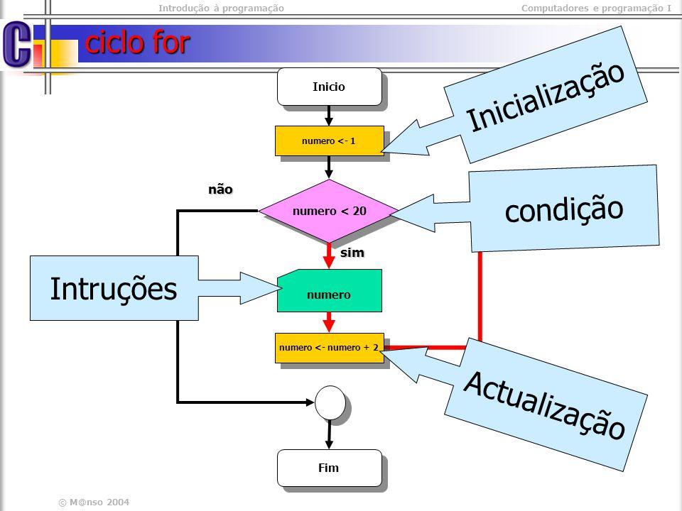 Introdução à programaçãoComputadores e programação I © M@nso 2004 Repetição Impares #include #include int main(int argc, char* argv[]) { int numero; int numero; for( numero = 1 ; numero < 20 ; numero += 2) for( numero = 1 ; numero < 20 ; numero += 2) { printf( %d\t , numero); printf( %d\t , numero); }} #include #include int main(int argc, char* argv[]) { int numero; int numero; for( numero = 1 ; numero < 20 ; numero += 2) for( numero = 1 ; numero < 20 ; numero += 2) { printf( %d\t , numero); printf( %d\t , numero); }}