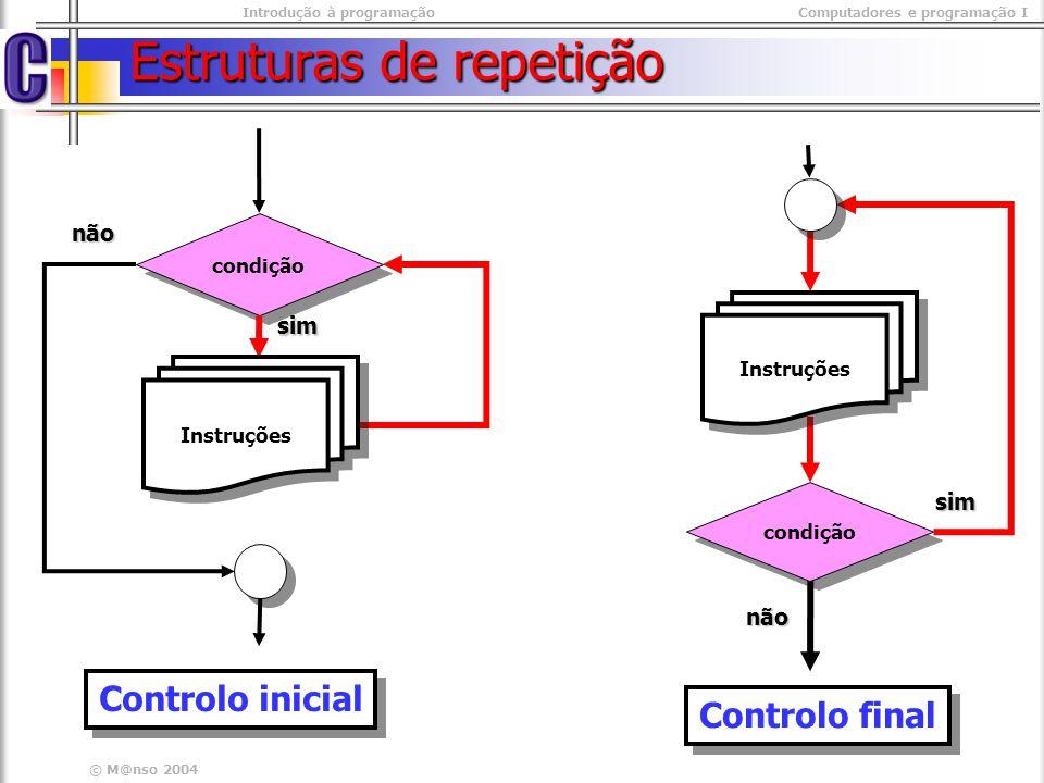 Introdução à programaçãoComputadores e programação I © M@nso 2004 Controlo final Utiliza-se para: Validar entradas Repetição de um bloco mais que uma vez Utiliza-se para: Validar entradas Repetição de um bloco mais que uma vez C C do { Instruções; } while(condiçao) do { Instruções; } while(condiçao) Funcionamento 1.
