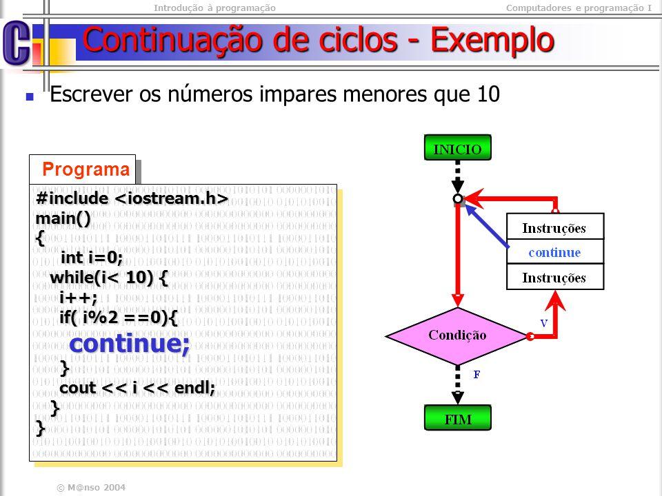 Introdução à programaçãoComputadores e programação I © M@nso 2004 Exercicio Contrua um programa que calcule a média de todos os termos positivos de uma sequência de números que termina com zero.