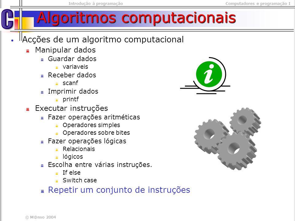 © M@nso 2003 Introdução à programaçãoComputadores e programação I Estruturas de Repetição