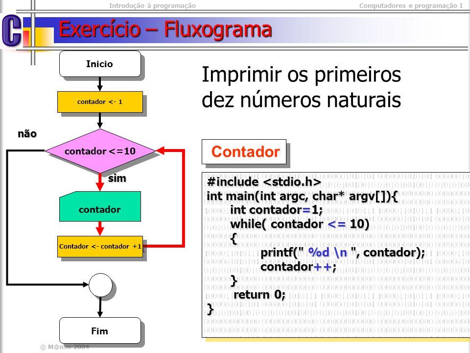 Introdução à programaçãoComputadores e programação I © M@nso 2004 Exercício Escreva um programa que imprima os números ímpares menores que 20 Inicio numero < 20 não sim numero Fim numero <- 1 Numero<- numero + 2 variáveis int contador = 1 condição contador < 20 Intruções repetidas printf(%d, contador); contador = contador +2; printf(%d, contador); contador = contador +2;