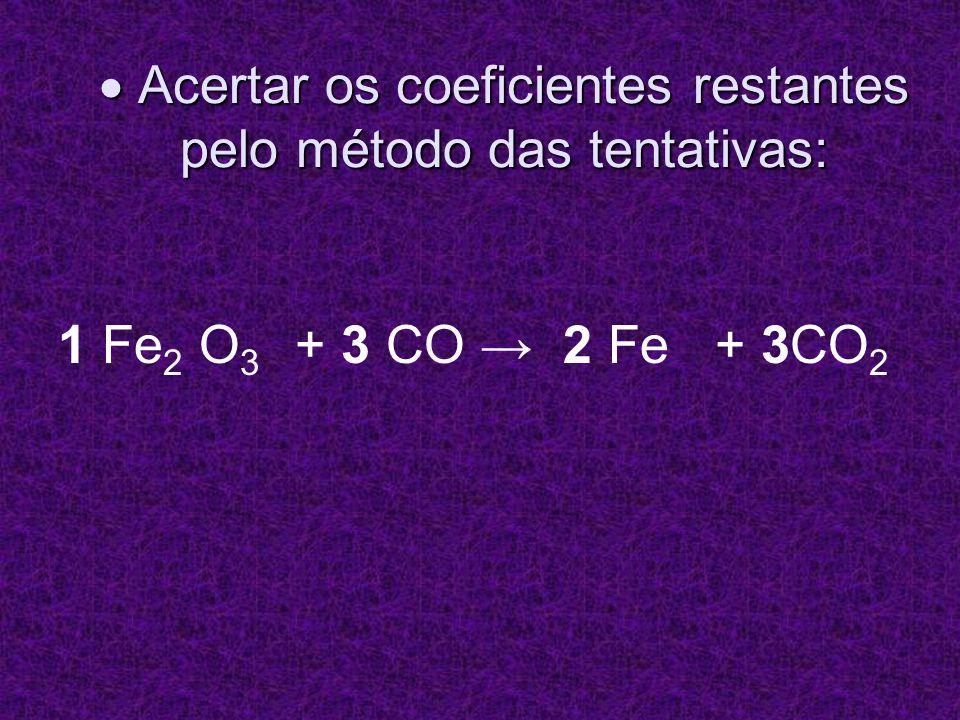 OBSERVAÇÃO: Observar se os coeficientes são os menores números inteiros possíveis.