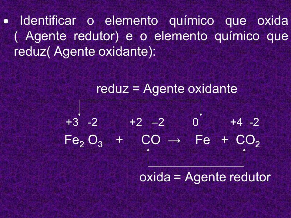Calcular a variação total de Nox do elemento que oxida e do elemento que reduz: Calcular a variação total de Nox do elemento que oxida e do elemento que reduz: reduz: = 3 - 0 = 3 +3 -2 +2 –2 0 +4 -2 Fe 2 O 3 + CO Fe + CO 2 Oxida : = 4 - 2 = 2