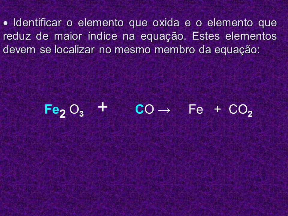 Multiplicar o índice deste elemento por sua variação de Nox: Multiplicar o índice deste elemento por sua variação de Nox: = 3.2 = 6 Fe 2 O 3 + C 1 O Fe + CO 2 = 2.