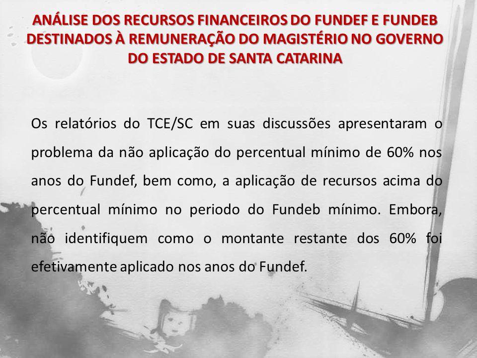 CONSIDERAÇÕES FINAIS A pesquisa possibilitou a verificação do comportamento do Governo do Estado de Santa Catarina na aplicação de uma parcela importante de recursos tributários destinada à manutenção de sua rede de ensino.