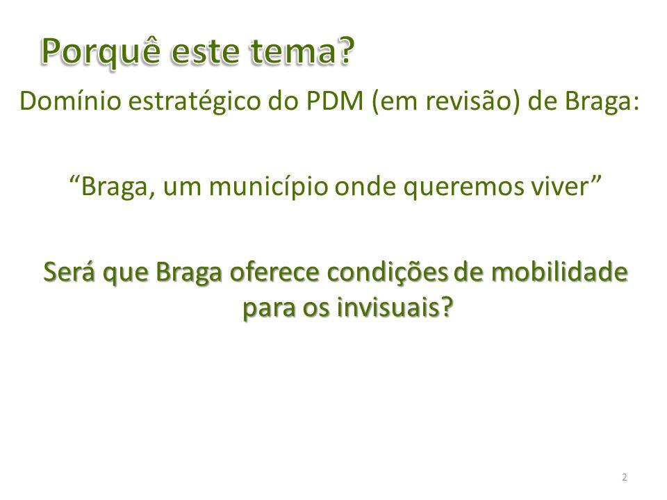 Avaliar na cidade de Braga as dificuldades de mobilidade dos invisuais; Determinar se as características físicas de uma determinada zona da cidade respeitam as exigências legalmente definidas; Indicar algumas propostas de solução para os problemas levantados.
