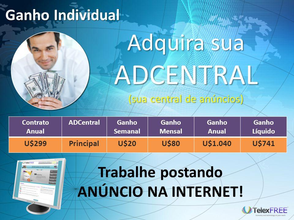 Ganho Individual - Family ADCentral FAMILY Somente publicando 5 ANÚNCIOS DIÁRIOS NA INTERNET.