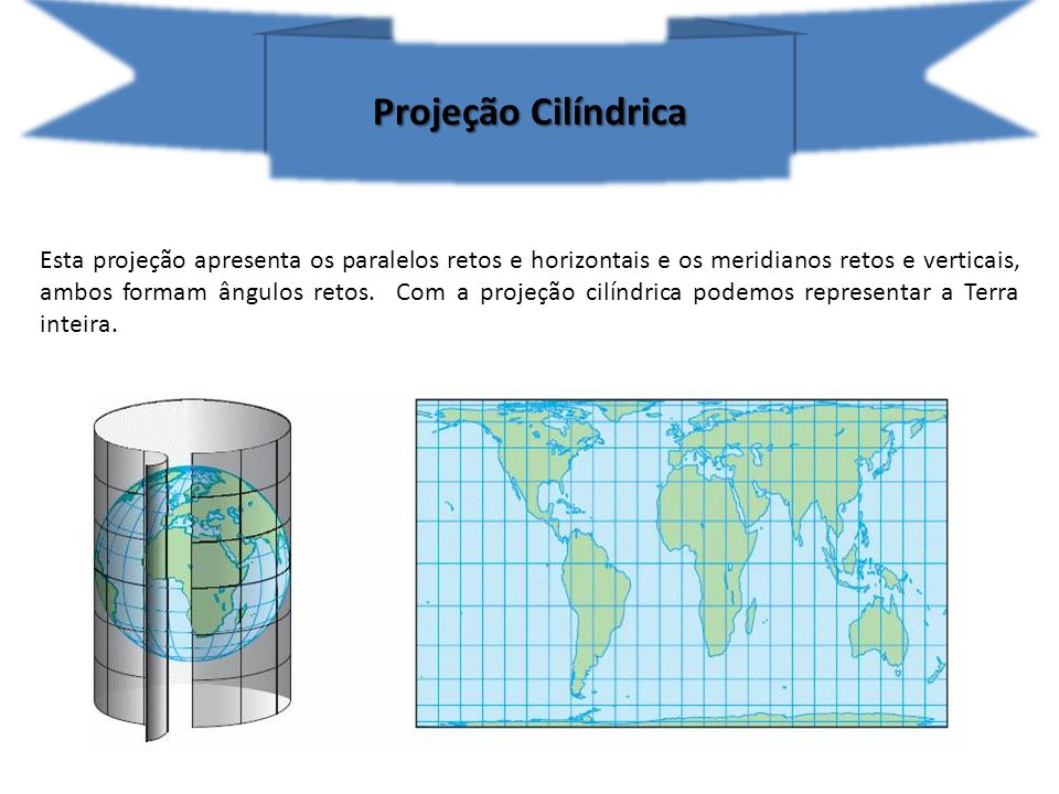 Existem dois tipos de projeções cilíndricas.Projeção de Mercator Idealizada e construída no séc.