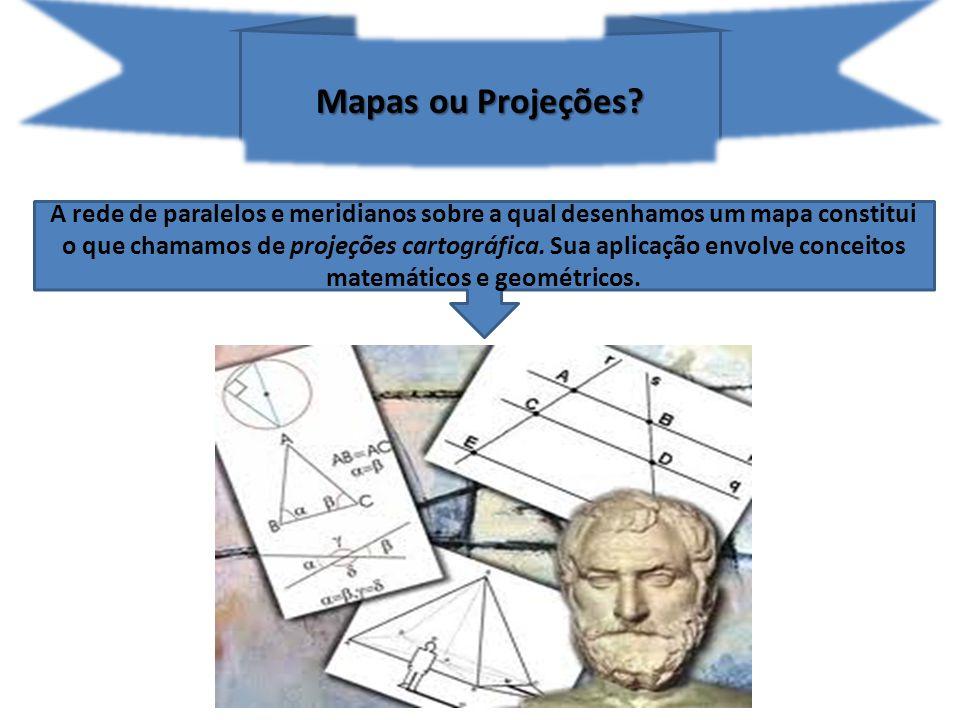 As projeções cartográficas permitem representar uma superfície curva em uma superfície plana com menor distorção possível.