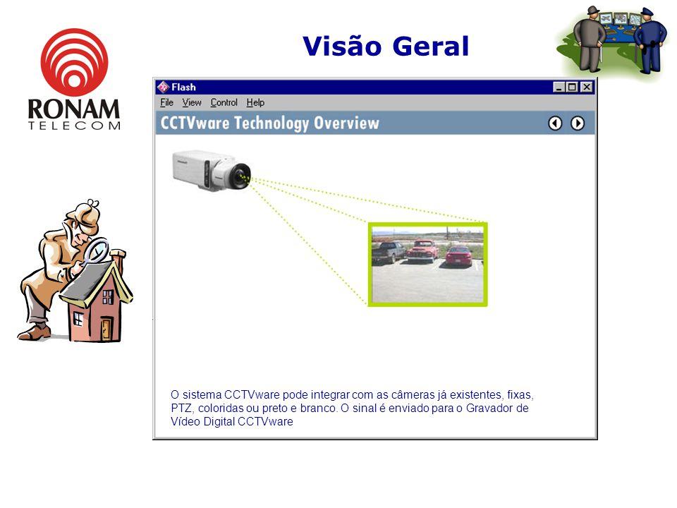 Visão Geral O sistema CCTVware pode integrar com as câmeras já existentes, fixas, PTZ, coloridas ou preto e branco.