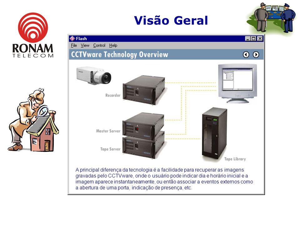 Visão Geral A principal diferença da tecnologia é a facilidade para recuperar as imagens gravadas pelo CCTVware, onde o usuário pode indicar dia e horário inicial e a imagem aparece instantaneamente, ou então associar a eventos externos como a abertura de uma porta, indicação de presença, etc.