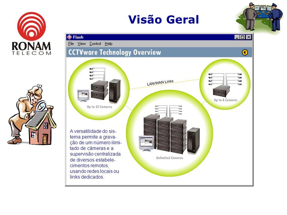 Visão Geral A versatilidade do sis- tema permite a grava- ção de um número ilimi- tado de câmeras e a supervisão centralizada de diversos estabele- cimentos remotos, usando redes locais ou links dedicados.