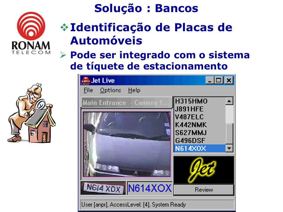 Identificação de Placas de Automóveis Pode ser integrado com o sistema de tíquete de estacionamento Solução : Bancos