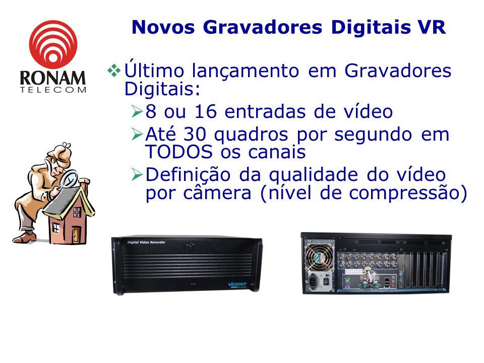 Novos Gravadores Digitais VR Último lançamento em Gravadores Digitais: 8 ou 16 entradas de vídeo Até 30 quadros por segundo em TODOS os canais Definição da qualidade do vídeo por câmera (nível de compressão)