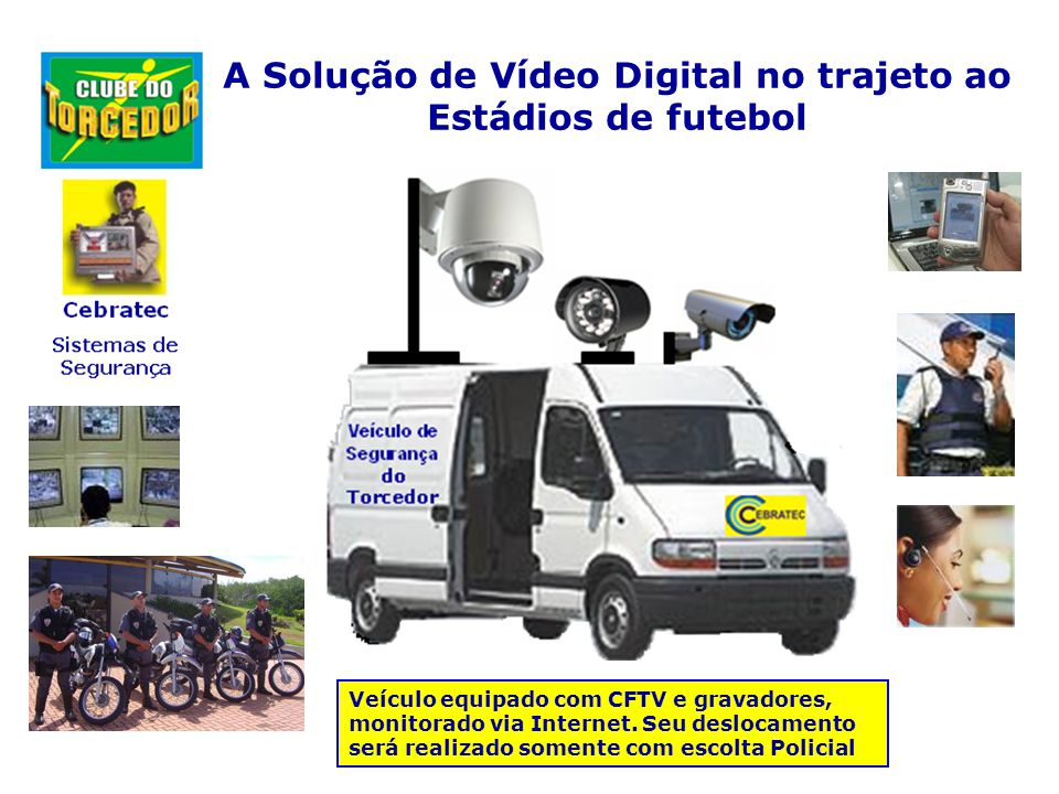 A Solução de Vídeo Digital no trajeto ao Estádios de futebol Veículo equipado com CFTV e gravadores, monitorado via Internet.