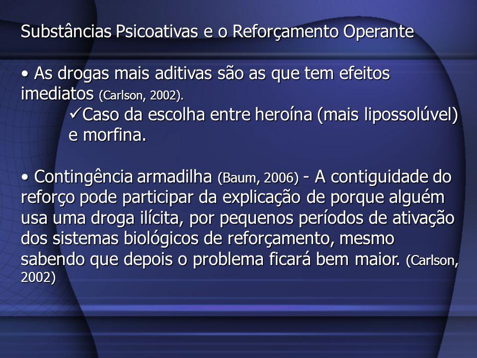 Substâncias Psicoativas e o Reforçamento Operante O uso da droga aditiva é reforçado por seus efeitos, e este processo depende da contiguidade.